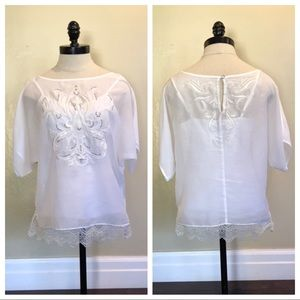 EUC WHBM Sheer Blouse Cami Embroidered Ivory Top